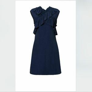 $1142 Marni Silk Navy Blue Ruffled Chiffon Dress